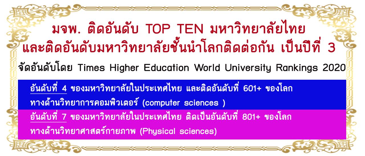 มจพ. ติดอันดับ TOP TEN มหาวิทยาลัยไทย